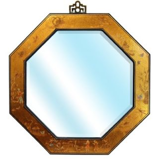 Oriental Furniture Octagonal Wall Mirror in Gold Leaf Lacquer   LQ