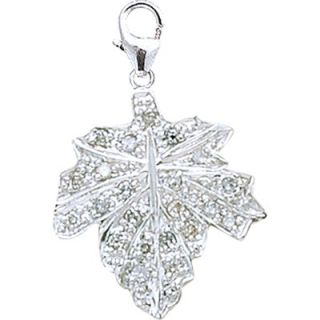 EZ Charms 14K White Gold Diamond Maple Leaf Charm