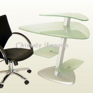 Chintaly Frosted Glass Computer Desk   6913 DSK T