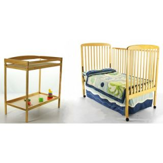 Dream On Me 2 in 1 Full Size Crib and Changing Table Combo in Natural