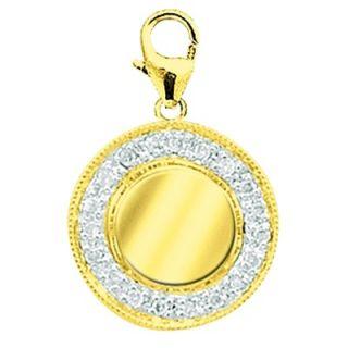 EZ Charms 14K Yellow Gold Diamond Round Disc Charm