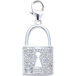 EZ Charms 14K White Gold Diamond Padlock Charm