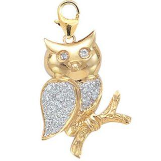 EZ Charms 14K 1.27 Grams Yellow Gold Diamond Owl Charm