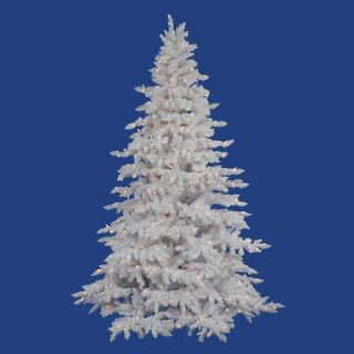 Vickerman Flocked White Spruce 7.5 Artificial Christmas Tree with LED