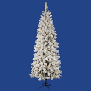 Flocked Pacific Pine 6.5 Artificial Pencil Christmas Tree with LED