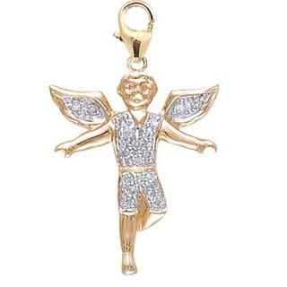EZ Charms 14K Yellow Gold Diamond Boy Angel Charm