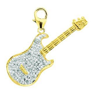 EZ Charms 14K Yellow Gold Diamond Guitar Charm