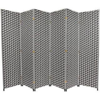 Oriental Furniture Woven Fiber 6 Panel Room Divider in Black and White
