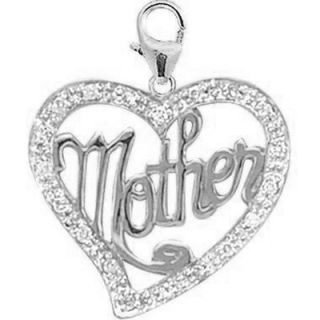 EZ Charms 14K White Gold Diamond Mother in Heart Charm