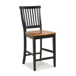 Home Styles Kitchen Stool with Oak Seat in Black   88 5003 89