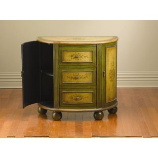AA Importing Three Drawer Two Side Door Console Cabinet in Green and