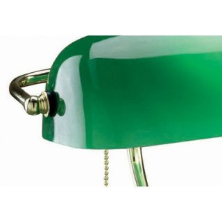 Lite Source Bankers Lamp in Polished Brass with Green Glass   LS
