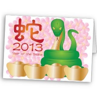 2013 Chinese New Year of the Snake Greeting Card Illustration