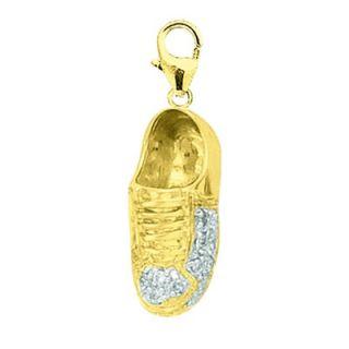 EZ Charms 14K Yellow Gold Diamond Sneaker Charm