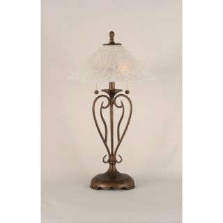 Toltec Lighting Olde Iron Table Lamp with Bubble Glass Shade