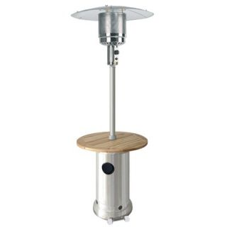 AZ Patio Heaters Tall Propane Patio Heater with Wood Table   HLDS01