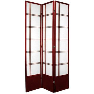 Oriental Furniture Double Cross Shoji Room Divider in Rosewood   SS