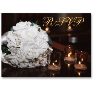 White Roses & Candlelight Gold RSVP Wedding Card by theedgeweddings