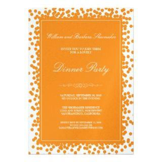 Orange Confetti Dinner Party Invitation