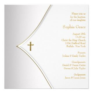 White Gold Cross Baby Boy Girl Christening Custom Invite