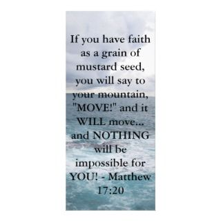 Matthew 17:20 Motivational Bible Quote Custom Rack Cards