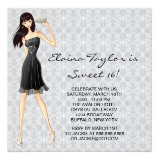 Little Black Dress Black White Sweet 16 Party Personalized Invite