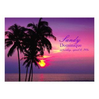 PixDezines Hawaiian Sunset tropical wedding Invitation