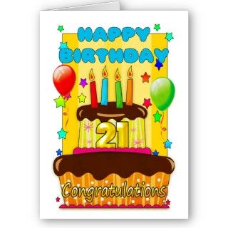 birthday cake with candles   happy 21st birthday cards