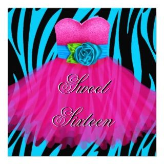 Sweet 16 Birthday Blue Zebra Black Pink Dress Personalized