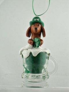 Clay Red Dachshund Green Beer St. Pattys Day #114 for MWDR Rescue by