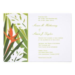 Tropical Wedding Invitation   Green and Orange