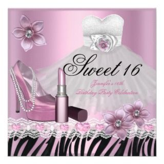 Zebra Pink Black Sweet Sixteen 16 Dress Lipstick 2 Personalized