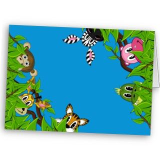 Jungle Animal Border Greeting Card