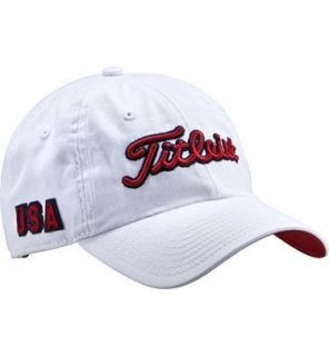 New 2011 Titleist USA Adjustable Golf Hat White 100 Cotton