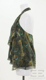 Haute Hippie Green Peacock Print Silk Ruffle Trim Halter Top Size