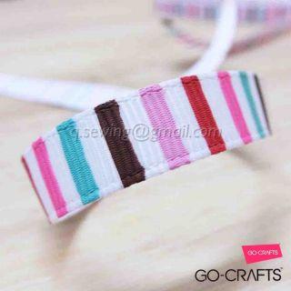 YA39 10mm 5yds Stripet Sweety Printed Grosgrain Ribbon