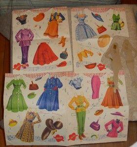 Original Vintage Mary Hartline Paper Dolls Clothes Many Pages Uncut