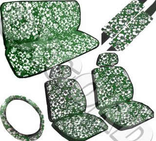 11pc set hawaii green auto car hawaii seat covers free wheel belt pad
