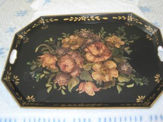 HUGE Hand Painted Antique Tole Tray  Old Style Muted Roses Hydrangea
