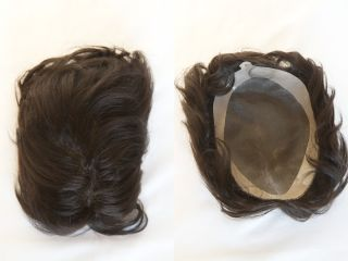 Medium Human Hair Grey Brunette Red Wavy Curly Monofilament Hand Tied