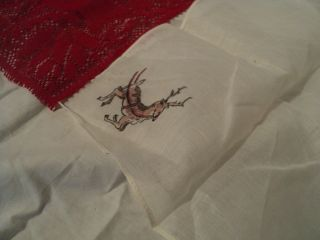 Lot of 2 Hankerchiefs White Transparent Cloth Red Lace
