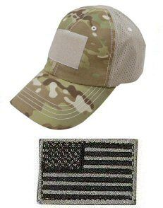 Mesh Military Tactical Multicam Cap Hat USA Flag Patch