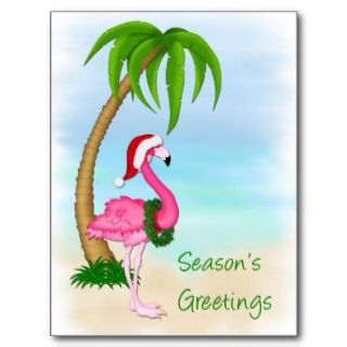 Pink Flamingo Palm Tree Christmas Postcard