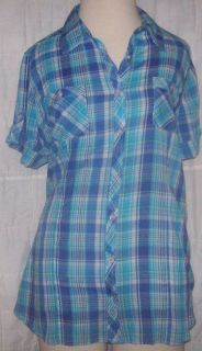 Plus Shirt Just My Size 2X 18W 20W Button Up SS Green Blue White Plaid
