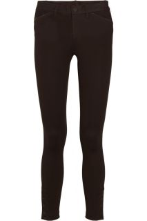Ralph Lauren Black Label Arlene leather trimmed jersey skinny pants   60% Off