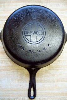 Vintage Griswold 704 B #8 Cast Iron Skillet Fry Pan Erie PA., U.S.A