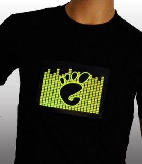 Sound Activated Hang Ten Black T Shirt Light Up LED