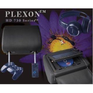 Plexon HD730 Black 2 Headrest DVD Player 7 LCD Screen Game System Disk