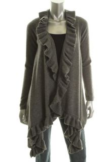 Hayden New Gray Heathered Cashmere Ruffled Open Front Cardigan Sweater
