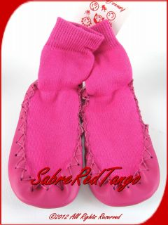 Hanna Andersson Swedish Moccasins Mocs Slippers Zing Pink 1A 3A 32 35